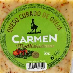 Queso Manchego curado de oveja Mediterraneo con Tomate, Oregano y Tomillo 200 g-
