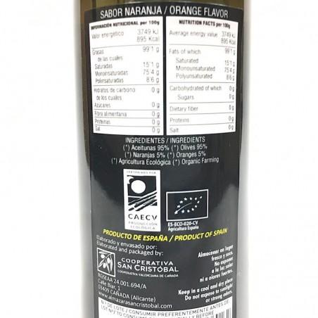 Huile d'olive vierge bio à l'orange 250 ml