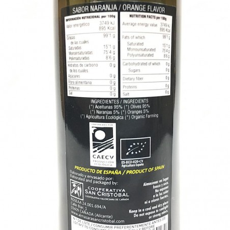 Organic oil Virgin Olive oil with Orange 250 ml
