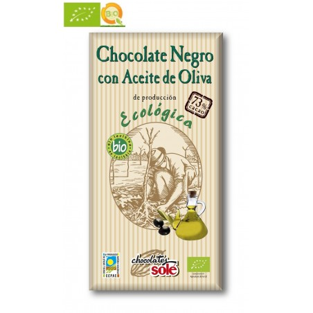 Chocolate Negro 73% Cacao con Aceite de Oliva 100g Bio