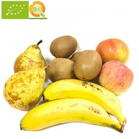 4 frutas Ecologicas: Manzanas Fuji, Peras, Kiwis y Plátanos de Canarias 5 kg