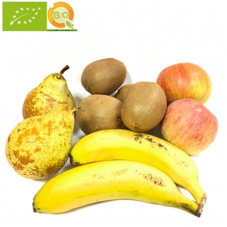 4 fruit Ecologicas: Apples Fuji, Pears, Kiwis and Bananas from the Canary islands 5 kg