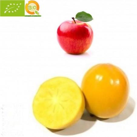 Frutas Ecológicas 2: Kakis Rojo Brillante y Manzanas Fuji - 5 kg