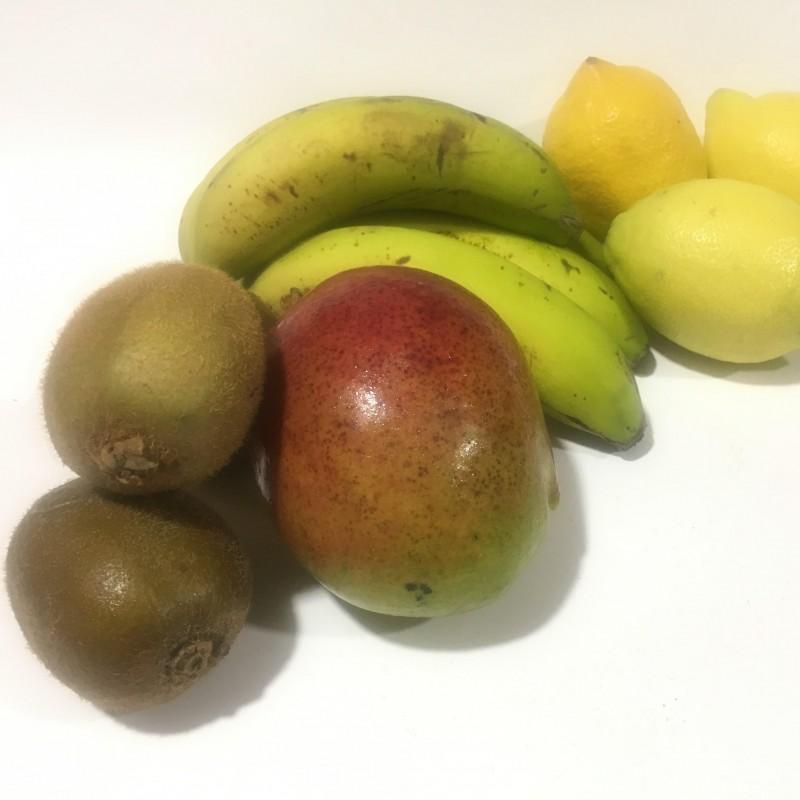 4 Fruits écologiques: Kiwis, Mangues, Plátanos et Citron 5 kg (mango, plátano, limón, kiwi)