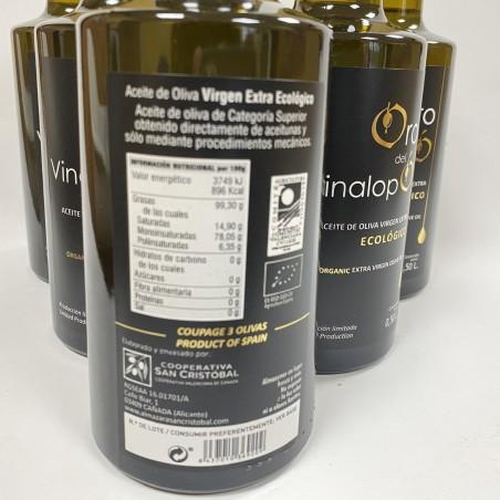 Aceite Ecológico de Oliva Virgen Extra, Oro del Vinalopó 500 ml