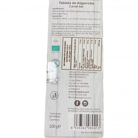 Chocolat de caroube 95%  l'Huile d'Olive écologique 100 g (algarroba)