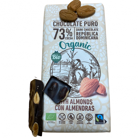 Bio-Bitterschokolade 73% mit Marcona-Mandeln 150 g  (cho + almendra)