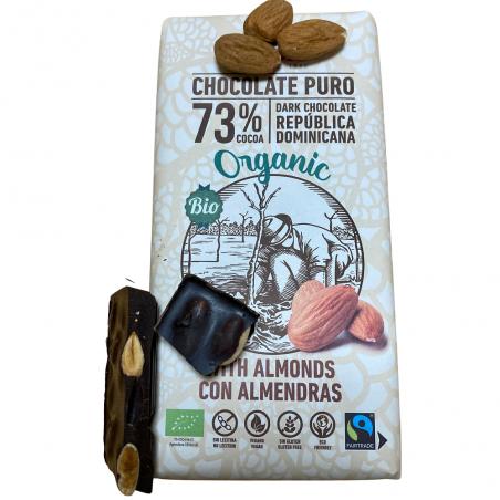 Organic Dark Chocolate 73% with Almonds 150 g (cho + almendra)