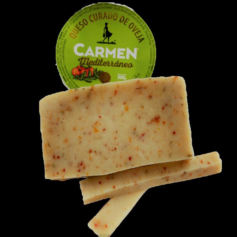 Fromage de brebis type Manchego affiné à la Méditerranéenne à la tomate, à l'origan et au thym 200 g