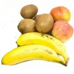 Frutas Ecologicas 3: Manzanas Royal gala, Kiwis y Plátanos de Canarias 5 kg
