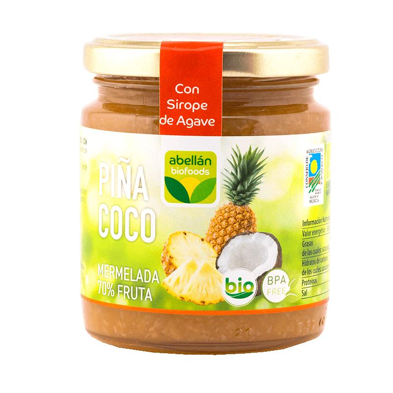 Confiture de Ananas et noix de coco bio avec Agave 260 g (piña y coco)