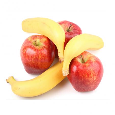 Fruits écologiques: Plátanos et Pommes, écologiques  5 kg (plátanos y manzanas)