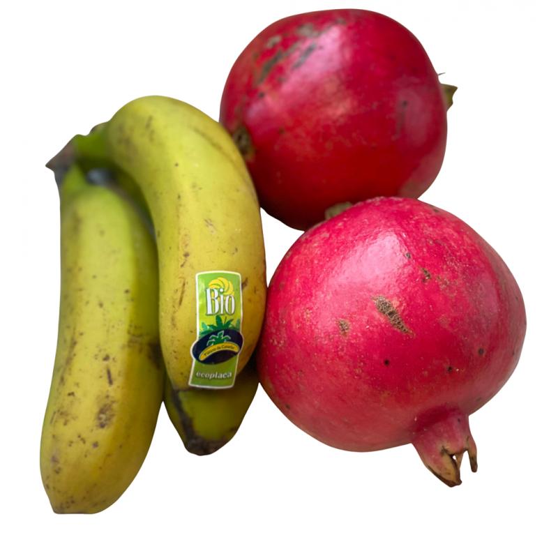 Bio-Plátanos und Bio-Granatäpfel, insgesamt 5 kg (plátanos y granadas)