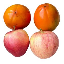 Frutas Ecológicas: Kakis Rojo Brillante y Manzanas